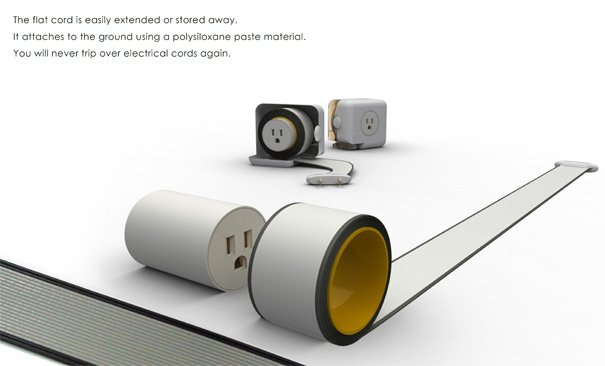 Super Flat And Retractable Cord Yanko Design