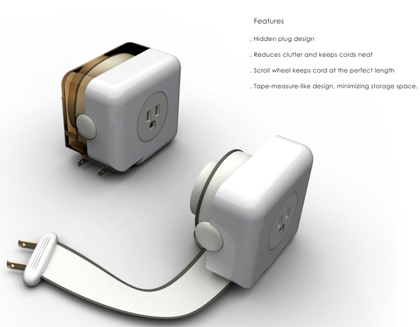 Super Flat And Retractable Cord Yanko Design