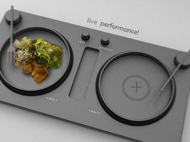 Live Performance Turntable Styled Dining Tray Design by Emir Rifat Isik