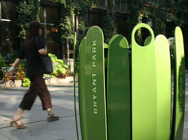 Bryant Park Litter Receptacles and Recycling System by Ignacio Ciocchini for the Bryant Park Corporation in New York