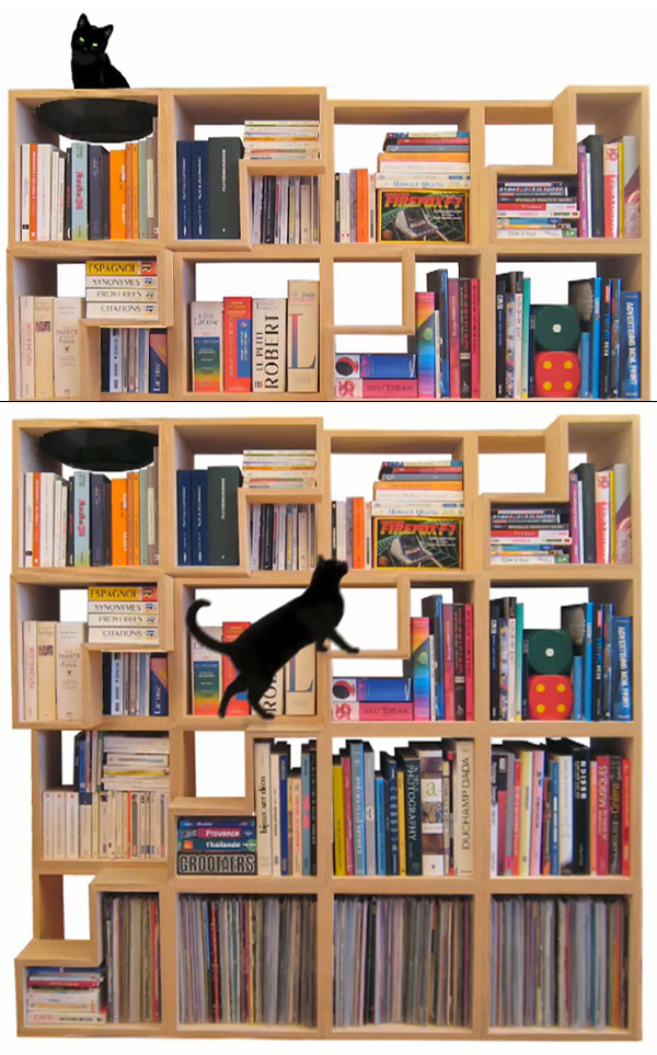 100% Cat-Friendly Modular Bookshelf by Corentin Dombrecht