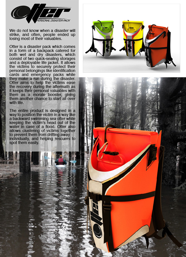 Otter Disaster Relief Emergency Bag Design by Benson Lee