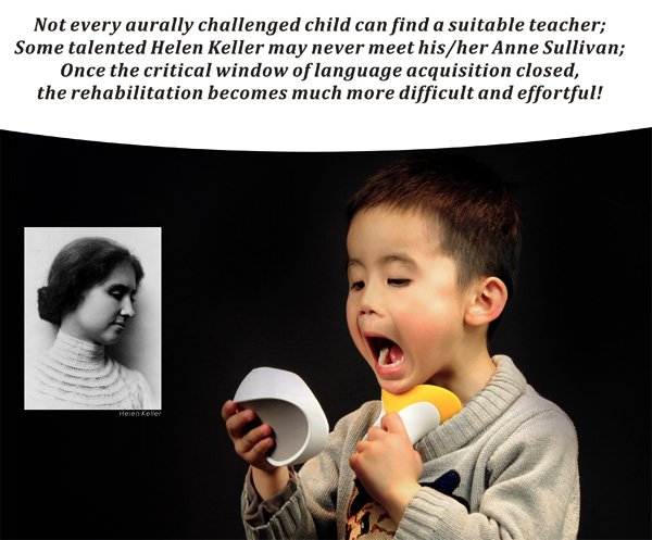 A child using a device that helps deaf children learn to talk