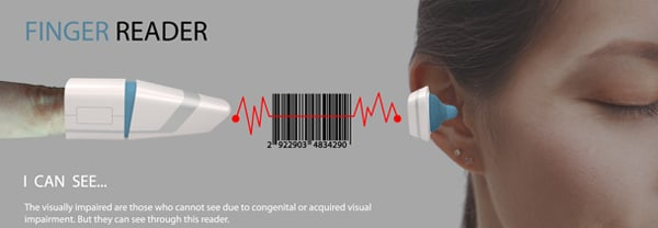 Finger Reader – Barcode Scanner & Bluetooth Headset Set for the Visually Impaired by Hansub Lee