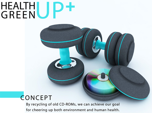 Health Green Up+ CD Recycle System with Dumbbells by Seung-il Kim