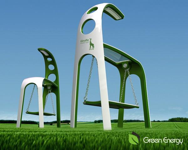 Giraffe Street Lamp & Swing Design by Chen Wei & Lu Yanxin