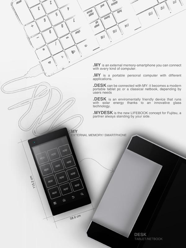 Fujitsu MyDesk Laptop Concept by Tommaso Ceschi