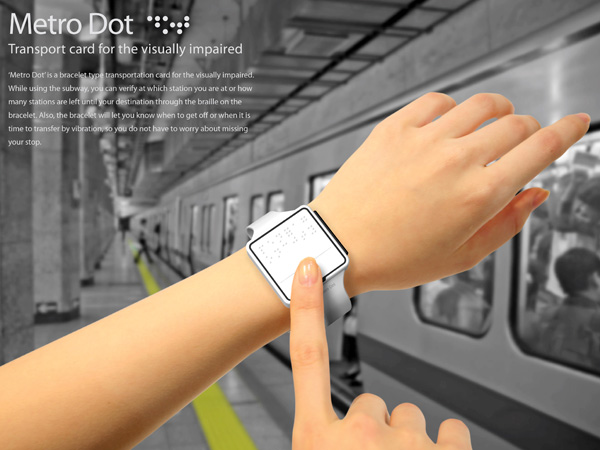 Metro Dot – Braille Bracelet Transportation Card by Ho-yeoul Lee, Jinwoo Kim and Sangyong Choi