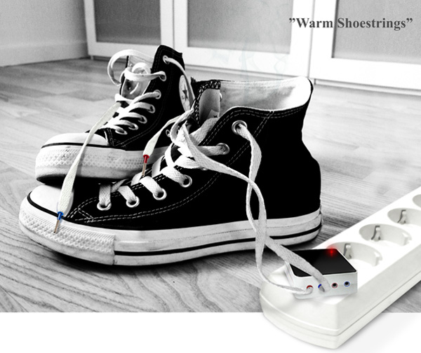 Warm Shoestrings – Shoe Warmer Concept by Alexey Chugunnikov