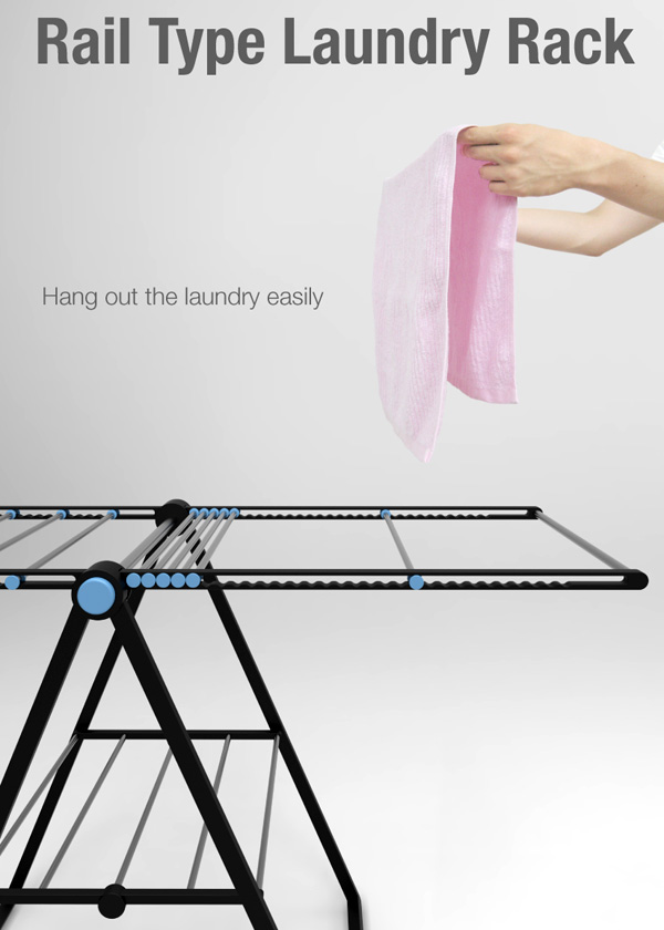 Rail Type Laundry Rack by Jung Soohun and Guareum