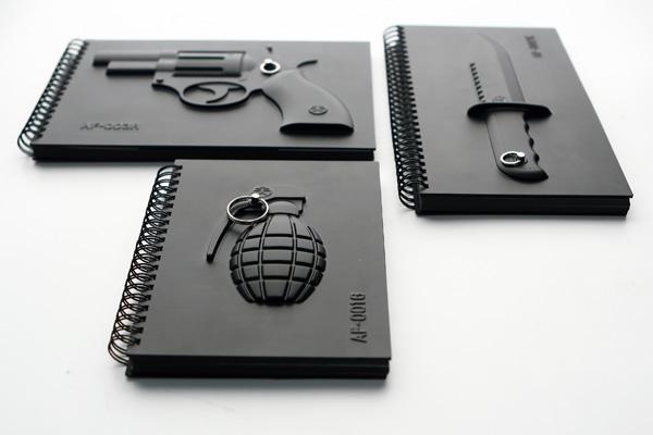 Grenade Notebook, Revolver Notebook & Nunchucks Notebook by Yiweishen