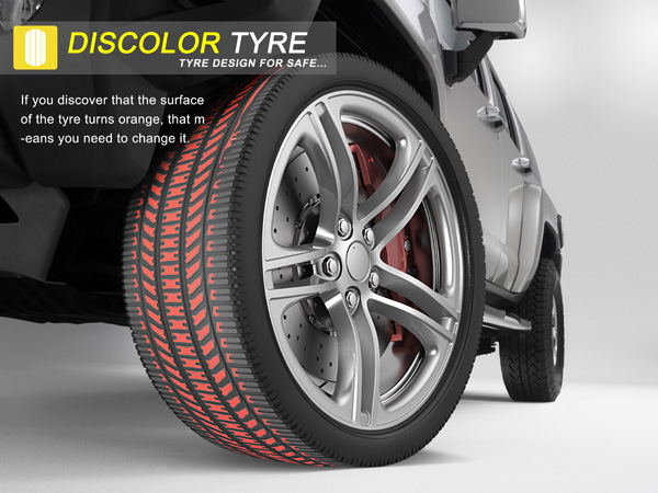 Discolor Tyre – Tire Safety Indicator by Gao Fenglin & Zhou Buyi