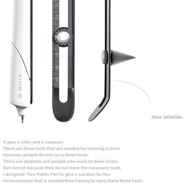 Two Points – Pen, Ruler And Compass Combination Stationery by Jeonghwan Bae
