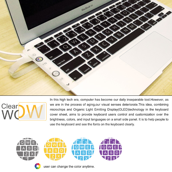 Wow Clear – Laptop Keyboard Cover With Backup Lights by Yu-Cheng Lin, Wei-Hsiang Tang & Yen-Kai Chiu