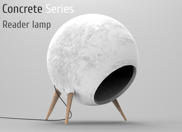 Concrete Reader - Desk Lamp by Alexander Krivoshlykov