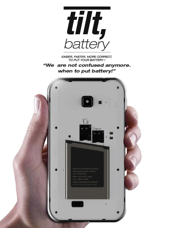 Tilt Battery – Cell Phone Battery Redesign by Ji Hye Park