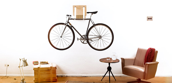 Wooden Indoor Bike Rack by Mechmet Chiousemoglou of .flxble