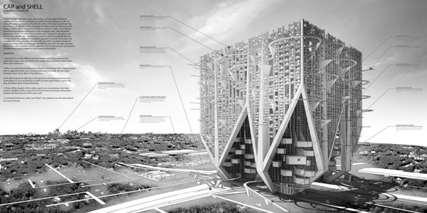 Car And Shell Skyscraper: Or Marinetti's Monster - Vertical Suburban Neighborhood by Mark Talbot & Daniel Markiewicz