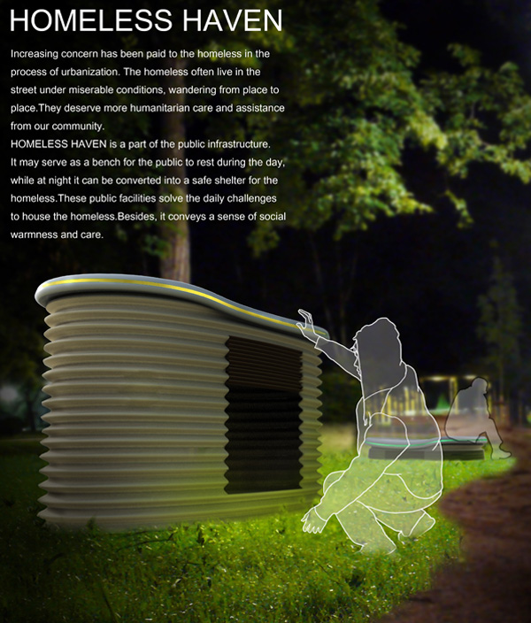 Homeless Haven – Street Furniture by Ke Wan, Xiaohua Ma, Xing Guo & Qingxiang Zhu