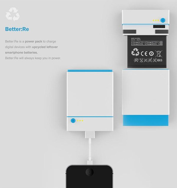 Better:Re – Recycled Phone Battery Charger by Kiyong Shin