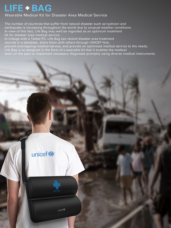 Life Bag - Wearable Medical Kit for Disaster Area Medical Service by Kyuho Song