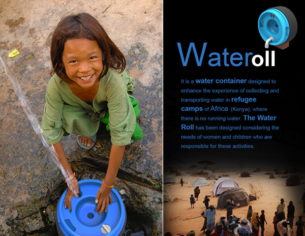 Water Roll – Water Collection Unit For Refugee Camp by Qunxi Huang and Yolegmma Marquez