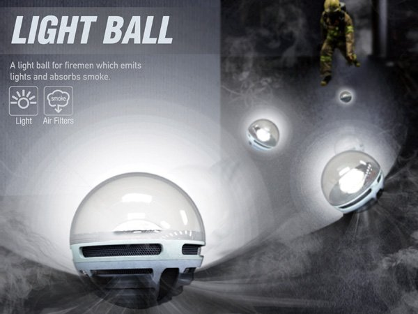 Light Ball – Illumination and Smoke Absorber for Firemen by Wonkyung Jang, Jiwoo Kim, Chanyeop Jeong and Narae Park