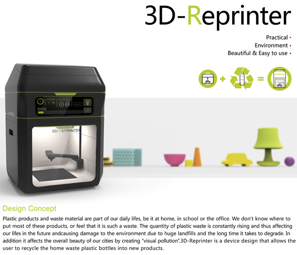 3D-Reprinter – 3D Printer Concept by Yangzi Qin, Yingting Wang, Luckas Fischer & Hanying Xie
