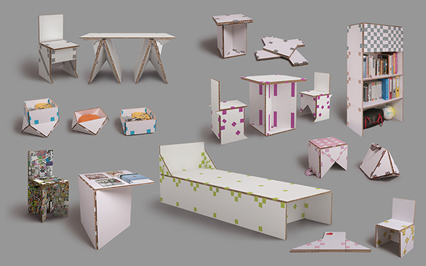 TapeFlips - Paper and Tape Furniture by Petar Zaharinov