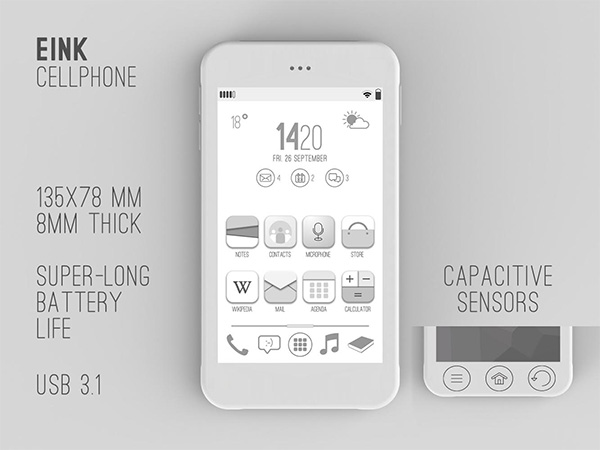 Inexpensive eInk Cell Phone