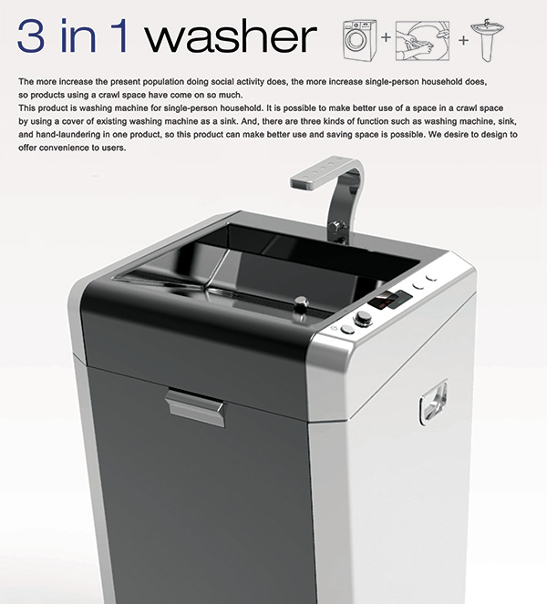 3 in 1 Washer - Washing Machine Concept by Students of Cheongju University