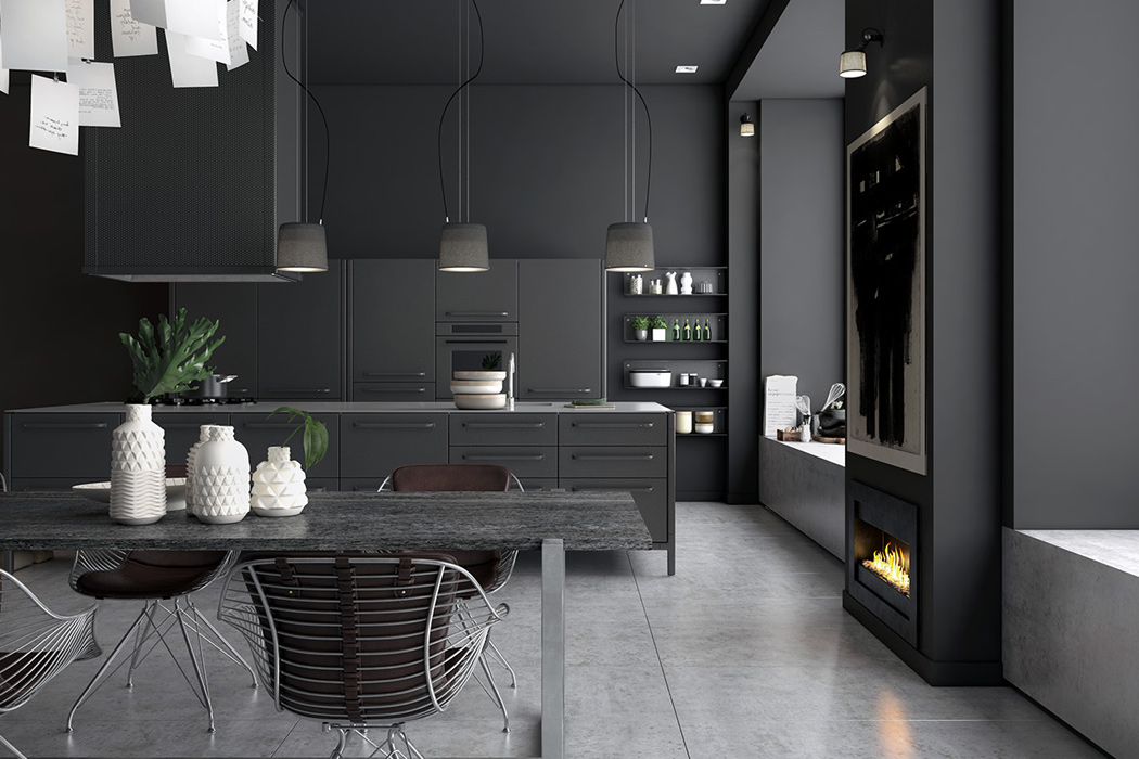 A Moody Monochromatic Kitchen Yanko Design