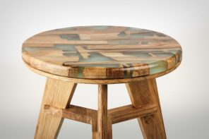 The stool with a wood transplant