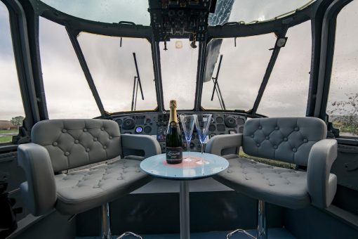 Sea King helicopter converted to glamping accommodation at Mains Farm Wigwams, by Stirling, Scotland. As featured on Channel 4 TV series, Amazing Spaces.