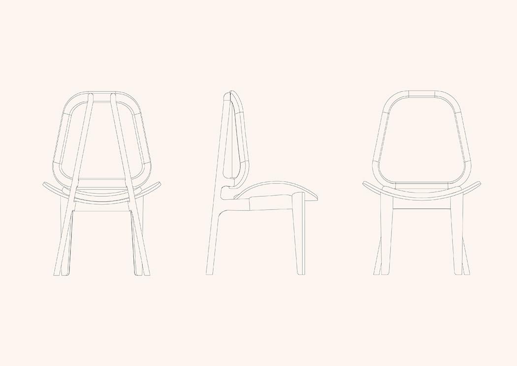 silla con rattan y cuero vector