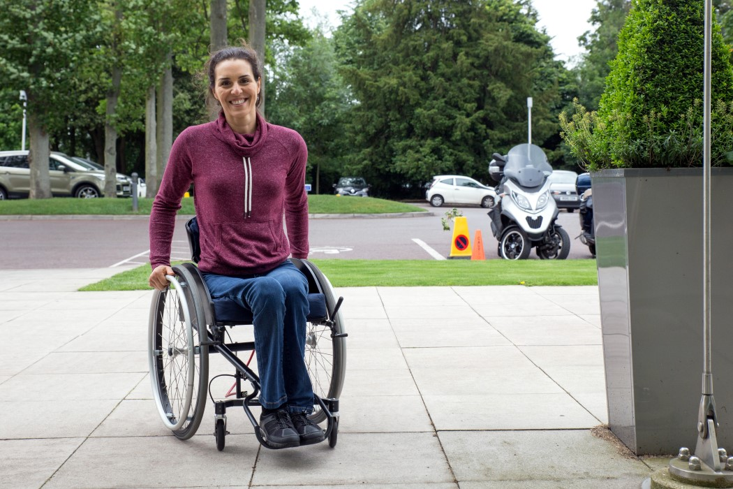 This wheelchair turns the backrest into a steering wheel