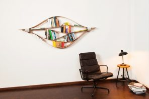 The Chuck bookshelf is unique, simple, dynamic, and an artpiece in itself