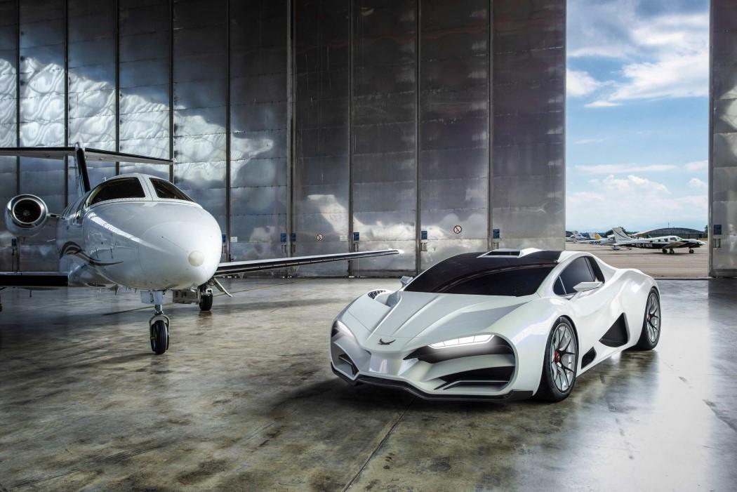 Copyright © MILAN Automotive GmbH, 2018   Milan Red: Full Carbon Bodywork & Chassis, Titanium SLM Uprights, Carbon Fiber Wishbones, V8 Quad Turbo - technical innovation made in Austria (PRNewsfoto/MILAN Automotive GmbH)