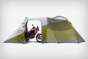 The Vuz Moto Tent shelters the rider and the ride