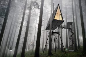 A treetop house with a rooftop design