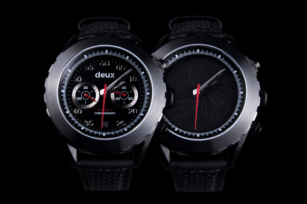 The Deux watch uses a camera-style aperture to go from bold to minimal