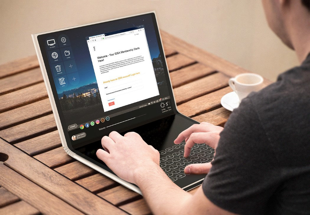 The flexible FRAME pad is capable of being a tablet, laptop, AND a desktop