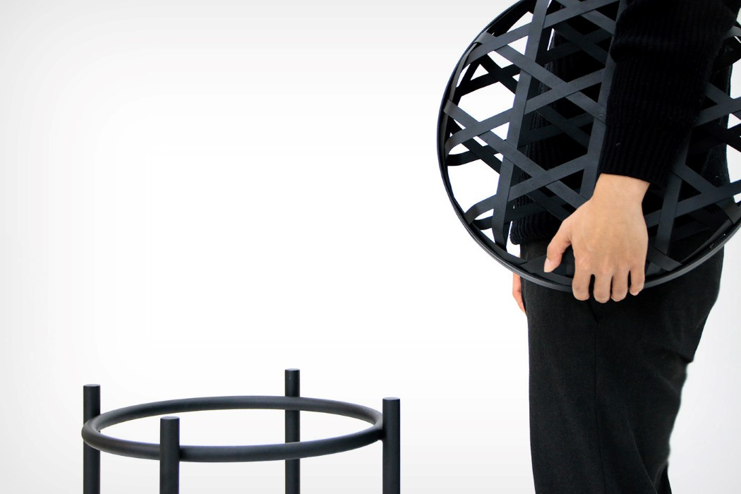The Weave stool creates volume using metal strips and hollow spaces