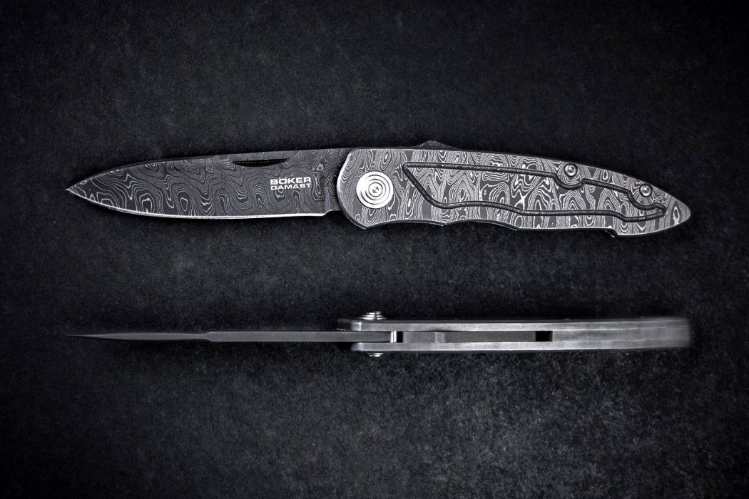 The Boker Merlin is made entirely from Damascus steel