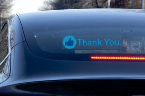 This LED display communicates the car-driver's actions to help reduce road-rage