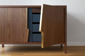 This 'accidental' lightning-bolt design detail doubles up as the cabinet's handles