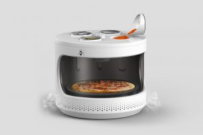 Microwave redesigned to be rounder and hold condiments