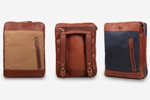 This leather backpack travel system holds four days of gear for commuters and travelers