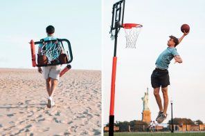 This portable 8.5 foot basketball hoop lets you play ball anywhere… even on the beach!