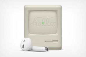 Here's an Airpods case that lets you carry a bit of Apple history around with you!